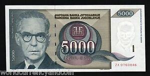 YUGOSLAVIA 5000 DINARS P115 1992 *REPLACEMENT* ZA UNC SERBIA XURRENCY MONEY NOTE
