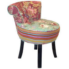 ROSES - Shabby Chic Stool / Fan Back Chair with Wood Legs Multi-coloured OCH6012