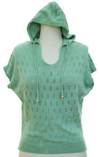 Mint Green Short Sleeve Pointelle Knit Hoodie Hooded Top Sweater Size S-M NWT