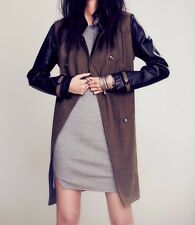 Free People Vegan Pieced  Army Green Black Trench Coat ☮ Small
