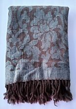 Restoration Hardware Wool-Blend Throw - Gray and Brown Brocade