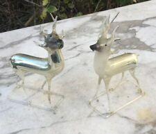 """2 VTG German Blown Mercury Glass 5"""" Reindeer Christmas Ornament Germany DEER"""
