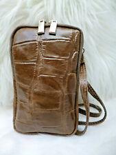 Tasche Handytasche Smartphone crossbody Mini Handtasche Kroko Leder braun taupe