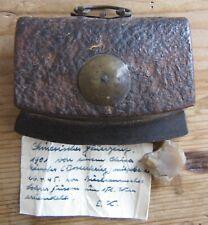 Antik China Tibet 19.Jhd Orig. Feuerstein Feuerzeug Leder Tasche Etui Brief RAR