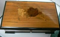 Vintage Thorens Pre-Reuge 6-Tune 41 Note Music Box in Wood Case w/ Inlaid Roses