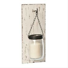 Wood Slat and Mason Jar Wall Sconce whitewashed ELEGANT LOOK HOME DECOR