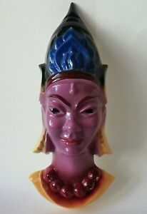 Masque / Buste en faïence Femme INDIAN à identifier Digoin / Goldscheider ? XXe