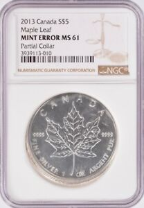 NGC Canada $5 2013 Silver Maple Leaf Partial Collar & Finning MS61