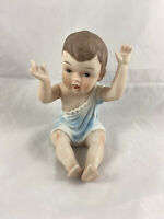 "Vintage Sitting Piano Baby Boy Figurine 4 1/2"" Inch Tall Hand Painted Bisque"