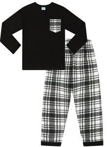Black and White Check Long Cotton  Pyjamas 9 to 16 Years