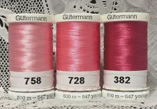 3 NEW Pink GUTERMANN 100% polyester embroidery thread 547 yards Spools