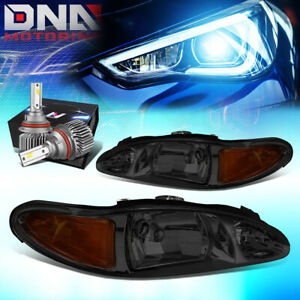 FOR 1997-2002 FORD ESCORT 4-DR HEADLIGHT LAMPS W/LED KIT SLIM STYLE SMOKED/AMBER