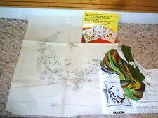1974 Bucilla Maxim Crewel Embroidery Pillow Kit Jacobean Birds