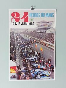 THREE'S COMPANY 1969 24 Heures Du Mans RICHARD KLINE Race Poster 11X17 AD RACING