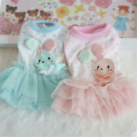 Cute Rabbit Dress Tiny Dog Clothes Pet Puppy Skirt Chihuahua Pink Blue XXS XS