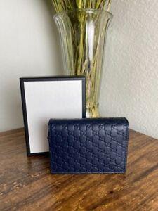 Gucci Dark Blue Microguccissima Leather Card Case Holder Wallet
