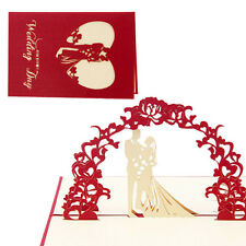 3D Pop Up Card Wedding Day Congratulations Card Paper Carving Greeting Birthday
