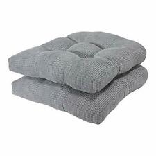 Non-Skid Foam Seat Cushion / Soft textured Solid Chair Pad - Alloy Gray (2pcs)