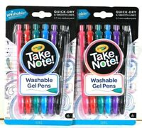2 Packages Crayola Take Note Quick Dry Smooth Lines 6 Count Washable Gel Pens