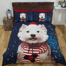 Navidad Perro Westie Conjunto de Funda Nórdica Individual Navidad Ropa de Cama