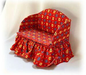 Vtg 1:6 Dollhouse Furniture Loveseat w Storage Red Fabric Yellow Blue Flowers