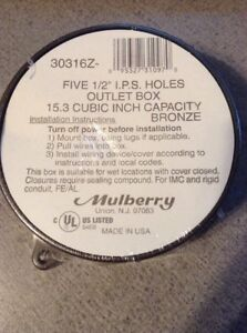 NEW Mulberry 30316Z Round Weatherproof Outlet BOX Bronze, 15.3 cubic in capacity