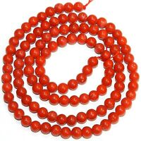 CRL184 Light-Medium Red 4.5mm - 5mm Round Bamboo Coral Gemstone Beads 16""