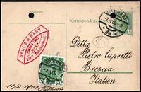 Austria 1908 Preprinted Postcard with 5H Vienna to Brescia Italy Postal History