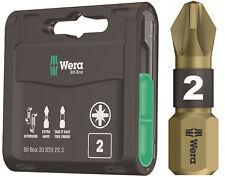 20 x WERA Bi-Torsion PZ2 Pozi 2 Gold Extra Hard Screwdriver Screw Bits, 347800