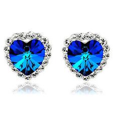 Crystal Heart of Ocean Royal Dark Blue Stud Earrings E958
