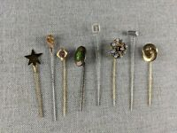 Vintage Antique Stickpin Lot of 8 Glass Rhinestone Lucite
