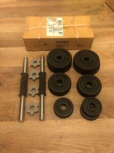 York Fitness 20KG Black Cast Iron Dumbbell Set & Spinlock Set & Gym Weights