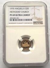 Anguilla 1970 Methodist Church 5 Dollar NGC PF69 Gold Coin,Proof