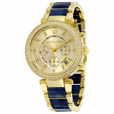 Michael Kors Womens Parker Chronograph BlueGold Dial TwoTone Watch