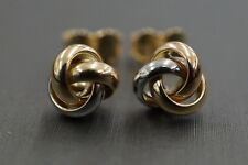 Beautiful 14K Solid Tri Color Gold Trinity Love Knot Stud Earrings. (#0710618)