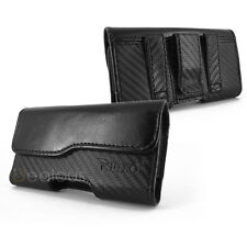 FOR APPLE IPHONE 4/4S PREMIUM BLACK LEATHER POUCH HOLSTER CASE WITH BELT CLIP