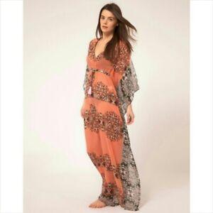 Stunning RIVER ISLAND Paisley BOHO KAFTAN Dress Size L Soft & Floaty