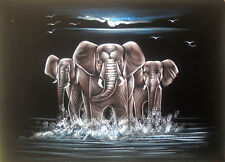 """Elephant Famuly Painting on Velvet Cloth Best Price Home Decor India  - 20""""x27"""""""