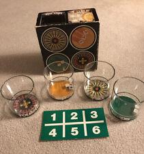 New listing Set of 4 Casino 12oz Glasses w/ Built-In Games Howw Mfg w/Original Box Usa Made