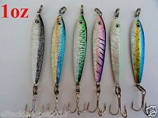6 Pieces 1oz Mega Live Bait Metal Jigs 6 Colors Combo Saltwater Fishing Lures