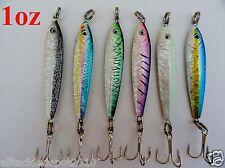 6 Pieces 1oz Mega Live Bait Metal Jigs 6 Colors Combo Saltwater Fishing Lures