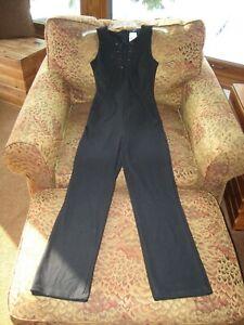 NWT Love Culture Trac black jumpsuit sz S lace up front bodice front pockets