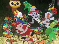 3D Happy Animal on Bike Windmill Wind Spinner Whirligig Garden Lawn Yard Decor