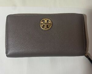 NWT Tory Burch Carson Zip Continental Wallet in Silver Maple $228.00