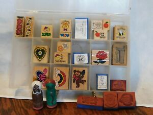 26 Rubber Stamp Wood Mounted In Plastic Storage Case Teacher School Student