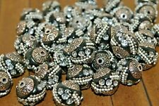 New 6 pc set of Beautiful Kashmiri Boho Beads - Black & White - 16mm - LK105