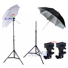 "Photography 2x33"" Flash Speedlight Umbrella 2.1M Light Stand Bracket Mount B Kit"