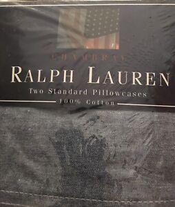 (2) Vintage Ralph Lauren Blue Chambray Denim Standard Pillowcases  NIP