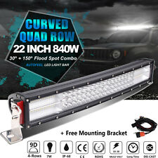 "9D CURVED 22Inch 840W PHILIPS Led Spot Flood Combo Quad Rows Light Bar 24"" VS 32"