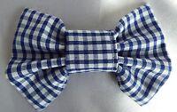 BLUE GINGHAM CHECK SCHOOL UNIFORM 4 INCH HAIR BOW ALLIGATOR CLIP GIRLS NEW